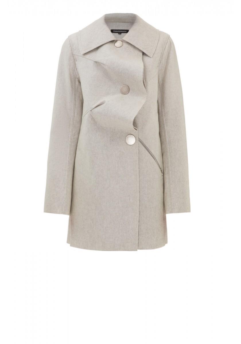 Шерстяное пальто с полиуретановым покрытием